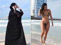 Trending - Model Liziane Gutierrez Wears Burka AND Bikini in Dubai - Trends India Arab Girls Hijab, Girl Hijab, Muslim Girls, Beautiful Muslim Women, Beautiful Girl Image, Beautiful Hijab, Modern Hijab Fashion, Muslim Women Fashion, Women's Fashion