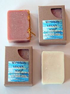 4 Bar Bundle All Natural Vegan Soaps / by MyshkinVeganProducts, $22.00 Donating a gift basket for raffle for the FFCS https://www.etsy.com/shop/MyshkinVeganProducts