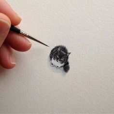 Imagem de cat, art, and drawing Cat Drawing, Painting & Drawing, Panda Drawing, Drawing Animals, Drawing Ideas, Kitty Tattoos, Small Cat Tattoos, Tiny Cats, Tiny Kitten