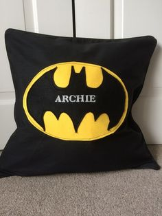 Personalised Batman childrens pillow cushion with their name, zipped piped…