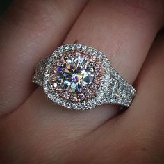Rose gold and pink diamond engagement ring