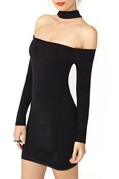 Black Halter Off-The-Shoulder Mini Dress