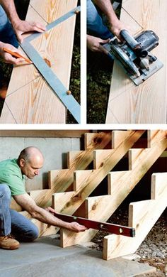 Woodworking Drawings - Comment construire un escalier? Plus Woodworking Drawings - Get A Lifetime Of Project Ideas and Inspiration! Stairs Stringer, Building Stairs, Bois Diy, Home Repairs, Home Projects, Woodworking Projects, Fine Woodworking, Woodworking Basics, Woodworking Organization