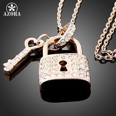Rose Gold Plated Key and Lock Pendant Crystal Necklace,Wholesale Fashion Jewelry Necklace TN0155