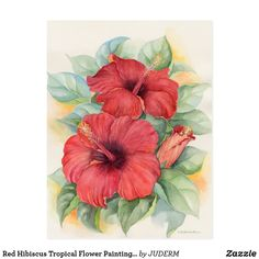 Red Hibiscus Tropical Flower Painting - Multi