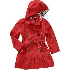 Pink Platinum Toddler Girl Tie Waist Ruffled Lined Lightweight Trenchcoat Jacket