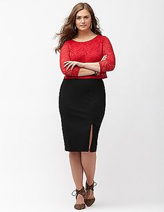 Curve-flattering pencil skirt takes you well beyond the work day in a sassy midi length with a zip-adjustable hem to show off as much or as little leg as you like. Soft, substantial ponte knit hugs your figure just right, with durable stretch that resists wrinkles, fading and pilling. Back zipper with hook & eye closure. lanebryant.com