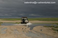 Wet season in the Nxai Pan National Park, Botswana. No problem for our Landy! valentina@v-adventures.com #LandRover #safari #travel #Africa #4x4 #OffRoad