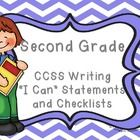 """The standards are set out to offer a focus for instruction each year and help ensure that students gain adequate exposure to a range of texts and tasks. These """"I Can"""" statements set out all of the standards children are expected to achieve in writing in Second Grade. Also included is a useful checklist so you or the child can tick off each standard as they are achieved.  The """"I Can"""" statements are written in child-friendly language and are easily accessible by children."""