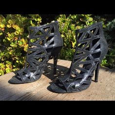 "Beautiful cutout heels This cool high-heeled leather sandals are going to cause ""WOWs"" when you walk in :) ALDO Shoes Heels"