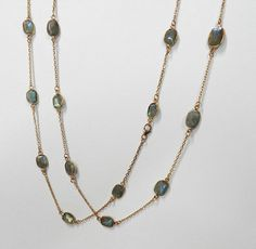 Labradorite gemstone brass Rose gold vermeil bezel long chain primrose necklace