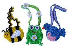 Purse Crochet Patterns, pattern pack includes instructions for a Bumblebee purse, a Frog purse and a Bluebird purse. $7.99 http://crochetvillage.com//
