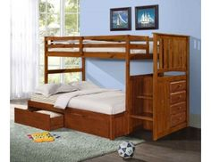 Shop for Donco Kids Mission Twin Stairway Bunk Bed with Underbed Drawers. Get free delivery On EVERYTHING* Overstock - Your Online Furniture Outlet Store! Bed With Underbed, Bunk Beds With Drawers, Under Bed Drawers, Bunk Beds With Storage, Bunk Bed With Trundle, Bunk Beds With Stairs, Cool Bunk Beds, Twin Bunk Beds, Kids Bunk Beds
