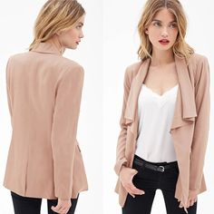 Fashion Solid Color Flouncing Collar Long Sleeve Blazer