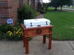 My hubs would love this Yeti Cooler Stand - by Dave Carlisle @ LumberJocks.com ~ woodworking community