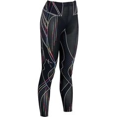 CW-X Women's Revolution Tight ($200) ❤ liked on Polyvore featuring rainbow stripes print and cw-x