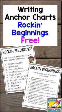 Check out these free anchor charts- posters to help when teaching writing!  Play some music while students create a Rockin Beginning for their essay!