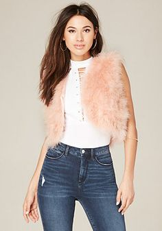 bebe Feather Vest #bebe #pinyourwishlist