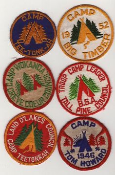 Collection of vintage camp patches.