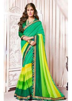 Party Wear Green Georgette Saree  - 73372