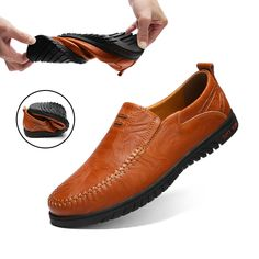 Men Shoes Genuine leather Comfortable Men Casual Shoes Footwear Chaussures Flats For Men Slip On Lazy Shoes Zapatos Hombre Source by zoomcart Casual Leather Shoes, Leather Loafers, Loafers Men, Casual Shoes, Men Casual, Leather Men, Real Leather, Casual Sneakers, Oxfords