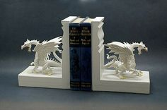 Dragon Bookends Medieval Myth Winter White Snow by EclecticForest