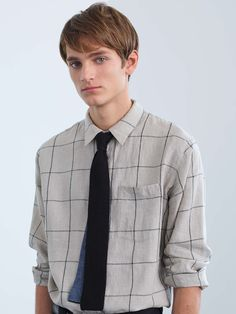 MARGARET HOWELL - NATURAL / BLACK  OVERSIZED CHECK LINEN  MINIMAL SHIRT  BLACK / INDIGO  PLAIN COTTON  DOUBLE FACE TIE