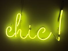 This neon light sign is more than chic! Neon Words, Neon Nights, Sign Lighting, Neon Glow, Typography, Lettering, Mo S, Mellow Yellow, Boutique