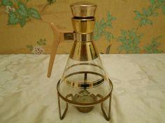 Vintage Glass Carafe And Burner by SETXTreasures on Etsy