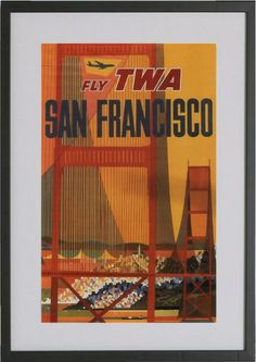 Fly TWA San Francisco Mid Century Travel by TwoDovesPrinting