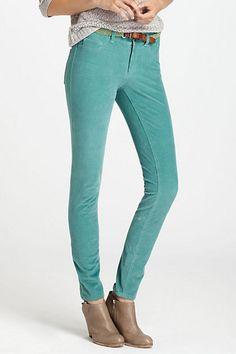 Turquoise...  Pilcro Serif Cord Leggings #anthropologie