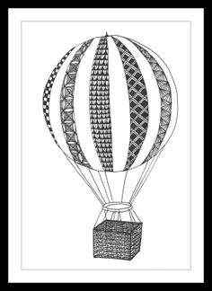 Black and White Art Print Hot Air Balloon by ArtsAutobiographical, £15.00