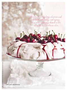 """I'm not sure what pavlova is. but those cherries look delicious! """"classic pavlova with cherry syrup"""" Just Desserts, Delicious Desserts, Meringue Pavlova, Meringue Food, Cherry Syrup, Cupcake Cakes, Cupcakes, Desert Recipes, Christmas Baking"""