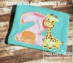 Two Giraffe Applique Design: Jazzy Zebra Designs