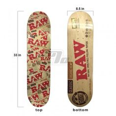 Latest Limited Edition RAW Rolling Papers skateboard. Classic deck measuring in at 33 inches long and 8.375 inches wide. Add your favorite trucks, wheels, bearings, grip tape & you'll be ready to take RAW to the street.  Extra Special: FREE RAW King Size Double Barrel 2 Joint Holders ($12 Value) included with each RAW SkateBoard for a complete RAWLife Package.   http://www.1percent.com/raw-skateboard-7.html