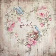Family Bluebird Roses and Nest Print on Wood Cottage Framed by Debi Coules - Debi Coules Romantic Art Romantic Shabby Chic, Shabby Chic Cottage, Shabby Chic Decor, Wood Cottage, Shabby Bedroom, Images Vintage, Vintage Cards, Vintage Paper, Vintage Ideas