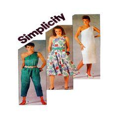 Single Shoulder Dress or Jumpsuit Simplicity by FindCraftyPatterns