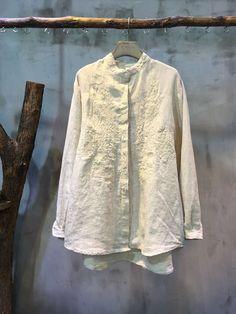 Best-Selling Flower Embroidery Cotton Linen Blouse Womans Decent Clothes  #blouse #shirt #embroidery #linen #flowers #Beige #elegant #clothes #natural #organic