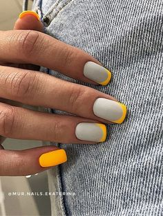 24. Grey and Yellow French Mani You never go wrong with a French nail design. But instead of just simple French nail, try this... French Tip Nails, French Manicure Nails, French Nail Art, Manicure Y Pedicure, Grey Nail Art, Yellow Nail Art, Gray Nails, Neon Nails, French Nail Designs