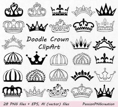 This Doodle Crown Clipart Hand drawn Crown Clip Art Crown is just one of the custom, handmade pieces you'll find in our collage sheets shops. Clipart, Crown Clip Art, Crown Silhouette, Crown Drawing, Doodle Art, Handmade Crafts, Tatting, Coloring Pages, Graffiti