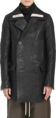 Rick Owens Bonded Leather Double-Breasted Peacoat at Barneys New York