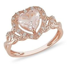 10k Rose Gold Morganite and Diamond Ring (.1 cttw, G-H Color, I2-I3 Clarity) #jewelry #gold #diamond #ring #amazon