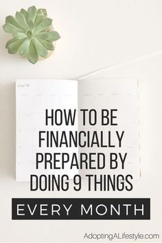 How to be financially prepared by doing 9 things every month