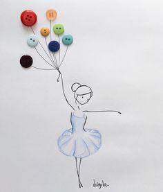 """""""Mi piace"""": 8,169, commenti: 126 - ®  ➳ info@diariodivirgola.it (@virgola_) su Instagram: """"Nei giorni in cui si parla di discriminazione e intolleranza, Virgola vuole ribadire che non esiste…"""" Button Art, Button Crafts, Pencil Art Drawings, Easy Drawings, Creative Artwork, Handmade Birthday Cards, Diy Arts And Crafts, Pebble Art, Cute Art"""