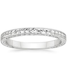 Milgrained borders and a hand-engraved pattern make this antique-style wedding ring truly sophisticated. Available in White Gold. Womens Wedding Bands, Wedding Rings For Women, Wedding Ring Bands, Diamond Anniversary Rings, Tenth Anniversary, Antique Engagement Rings, Or Antique, White Gold Rings, Rose Gold