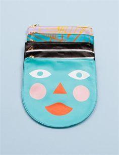 Baggu Medium Leather Zip Pouch- Custom Paint