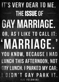 """It's very dear to me, the issue of gay marriage.  Or, as I like to call it:  'Marriage.'  You know, because I had lunch this afternoon, not gay lunch.  I parked my car; I didn't gay park it."" - Liz Feldman."