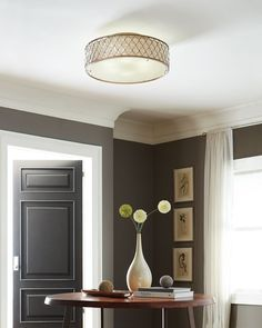 "For limited ceiling height or when you'd like an obstructed view, consider installing an oversized flush or semi-flushmount, such as this 30"" fixture from the Lucia lighting collection by Feiss. With a low profile, and unique Sunflower Shape Bauhinia crystals, it will add a glamorous touch to your entryway, bedroom or living room."