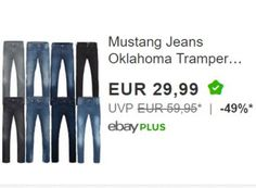 """Mustang: Jeans """"Oklahoma Tramper"""" für 29,99 Euro frei Haus via Ebay https://www.discountfan.de/artikel/klamotten_&_schuhe/mustang-jeans-oklahoma-tramper-fuer-2999-euro-frei-haus-via-ebay.php Für einen Tag ist bei Ebay als """"Wow! des Tages"""" die Mustang-Jeans """"Oklahoma Tramper"""" zum Schnäppchenpreis von 29,99 Euro frei Haus zu haben. Der Klassiker ist in drei Dutzend Größen und acht Farben verfügbar. Mustang: Jeans """"Oklahoma Tramper"""" f�"""
