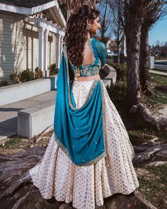 Love this shot of in a custom outfit from our Fremont, CA location! Designer Party Wear Dresses, Indian Designer Outfits, Indian Outfits, Pakistani Outfits, Half Saree Designs, Lehenga Designs, Indian Lehenga, Lehenga Choli, Kaftan